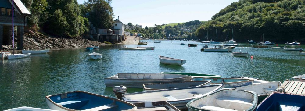 Boats Moored On The River In Noss Mayo
